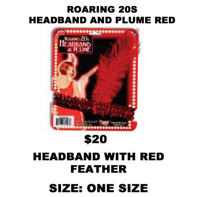 ROARING 20S HEADBAND AND PLUME RED