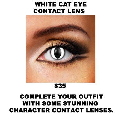WHITE CAT EYE CONTACT LENS