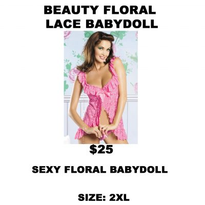 LIN159 BEAUTY FLORAL LACE BABYDOLL PINK 2XL