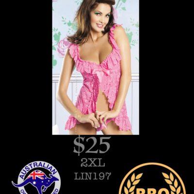 BEAUTY FLORAL LACE BABYDOLL PINK 2XL
