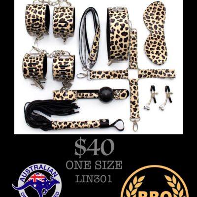 8 PIECE LEOPARD PRINT BONDAGE KIT